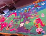 La fresque du Téléthon 2014, créée par les élèves de l'école primaire
